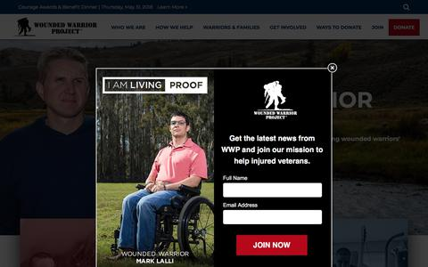 Screenshot of Home Page woundedwarriorproject.org - Veterans Service Organization | Non-Profit Charity for Wounded Warriors - captured April 21, 2018