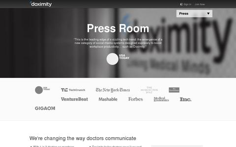 Screenshot of Press Page doximity.com - Doximity in the Press - captured July 20, 2014