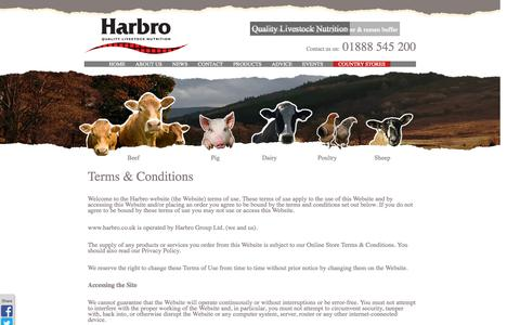 Screenshot of Terms Page harbro.co.uk - Harbro: Quality Livestock Nutrition - Terms and Conditions - captured Oct. 1, 2014
