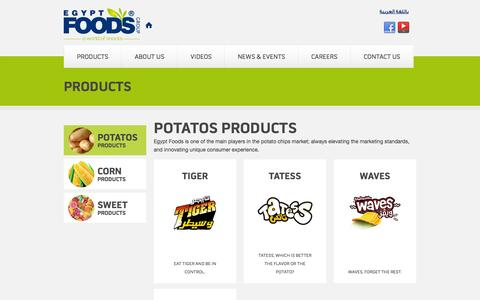 Screenshot of Products Page egyptfoodsgroup.com - Products | Egypt Foods - captured Sept. 26, 2014