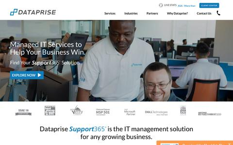 Screenshot of Home Page dataprise.com - Dataprise IT Services | Managing Technology. Powering Business - captured Aug. 2, 2019