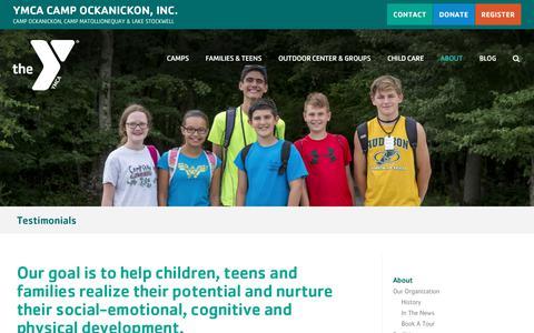 Screenshot of Testimonials Page ycamp.org - Testimonials - YMCA Camp Ockanickon, Inc. - captured Sept. 24, 2018