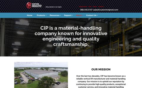 Screenshot of About Page customindprod.com - Vertical Lift Manufacturer | About Custom Industrial Products, Inc - captured Jan. 26, 2020