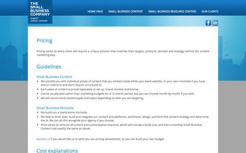 Screenshot of Pricing Page tsbc.com - The Small Business Company - Pricing - captured Oct. 6, 2014