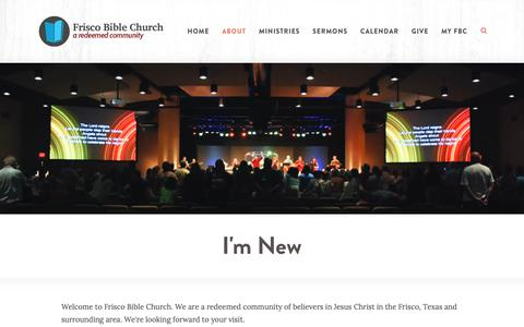 Screenshot of About Page friscobible.com - Frisco Bible Church > I'm New - captured Oct. 11, 2018
