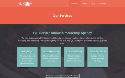 Screenshot of Services Page dkkma.com - Services - captured Feb. 8, 2016