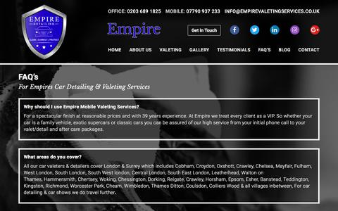 Screenshot of FAQ Page empirevaletingservices.co.uk - Mobile Car Valeting Cobham | Car Detailers Oxshott | Empire's FAQ's - captured Aug. 3, 2017