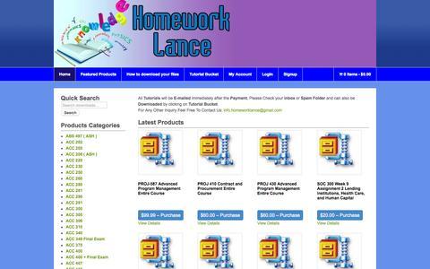 Screenshot of Home Page homeworklance.com - Homework Lance Online Homework Help - captured June 16, 2015