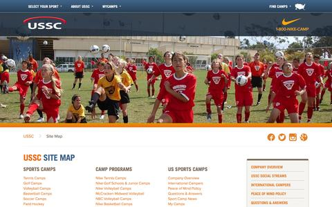 Screenshot of Site Map Page ussportscamps.com - Site Map - NIKE Sports Camps - captured Aug. 2, 2015