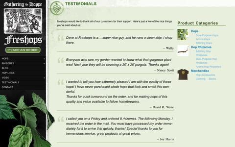 Screenshot of Testimonials Page freshops.com - Testimonials - Freshops - captured March 11, 2016