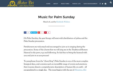 Screenshot of materdeiparish.com - Music for Palm Sunday - Mater Dei Latin Mass Parish - captured March 20, 2016