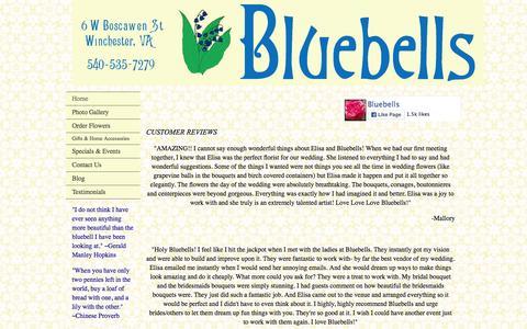 Screenshot of Testimonials Page bluebellsdesigns.com - Customer Testimonials - captured Feb. 7, 2016