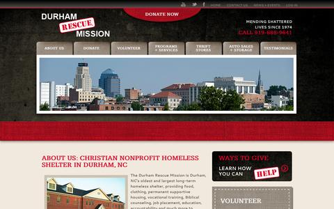Screenshot of About Page durhamrescuemission.org - About | Durham Rescue Mission | Raleigh-Durham-Chapel Hill Homeless Shelter - captured Sept. 30, 2014