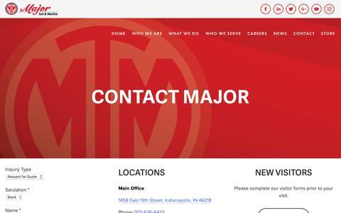 Screenshot of Contact Page majortool.com - Contact — Major Tool & Machine - captured Oct. 1, 2018