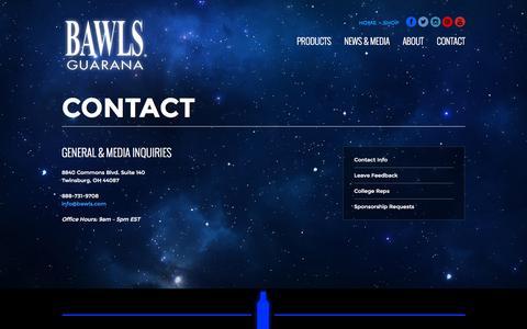 Screenshot of Contact Page bawls.com - Contact | BAWLS Guarana - captured Sept. 19, 2014