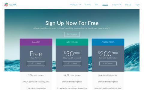 Screenshot of Pricing Page lagoa.com - Pricing | LAGOA - captured July 19, 2014
