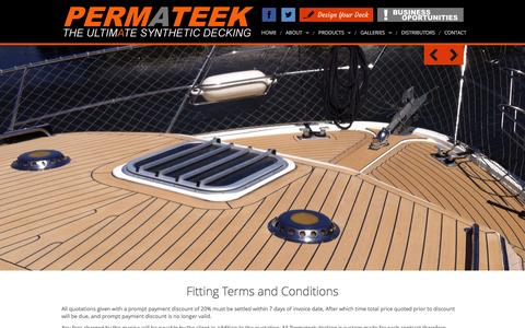 Screenshot of Terms Page permateek.com - Permateek Synthetic Decking - captured Dec. 8, 2015