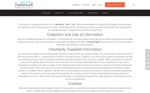 Screenshot of Privacy Page nominum.com - Privacy | Nominum - captured July 20, 2014