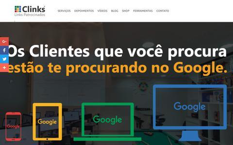 Screenshot of Home Page clinks.com.br - Agência certificada Google AdWords - Clinks - captured Dec. 9, 2017