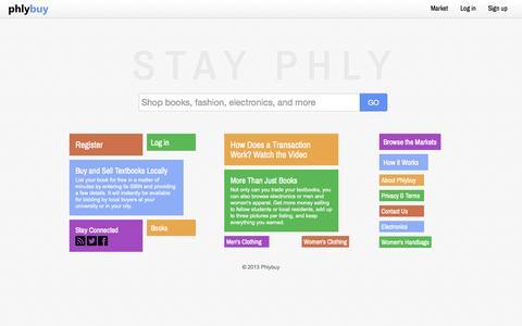 Screenshot of Home Page phlybuy.com - Shop books, fashion, electronics, and more - Phlybuy - captured Sept. 29, 2014