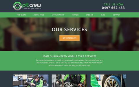 Screenshot of Services Page pitcrewmobile.com - Mobile Tyre Services | Pit Crew Mobile - captured March 16, 2016