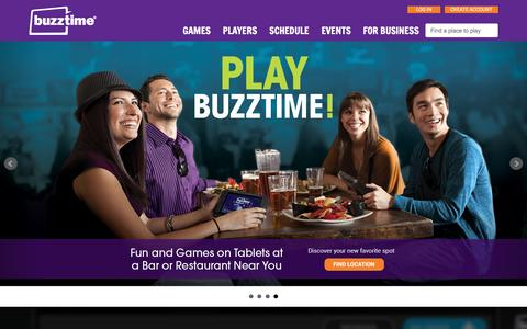 Screenshot of Home Page buzztime.com - Buzztime | Bar Trivia, Live Trivia, Cards & Sports Games - captured Feb. 2, 2016