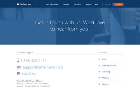 Screenshot of Contact Page betterment.com - Contact Us - Betterment - captured Oct. 20, 2015