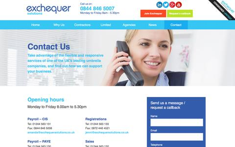 Screenshot of Contact Page exchequersolutions.co.uk - Contact Us - Umbrella Company - captured July 17, 2016