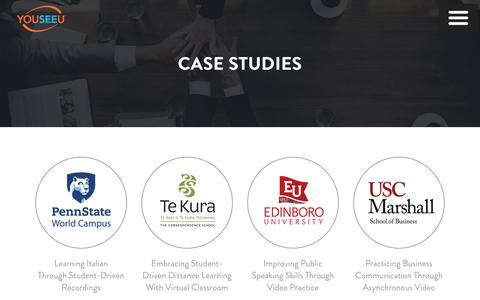 Screenshot of Case Studies Page youseeu.com - YouSeeU |   Case Studies - captured Sept. 19, 2018