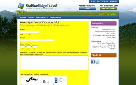 Screenshot of Contact Page goblueridgetravel.com - Advertise Tourism  Romantic Getaways - captured Sept. 30, 2014