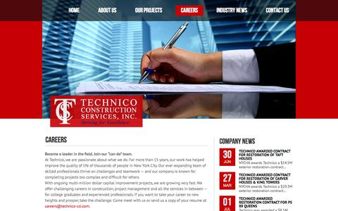 Screenshot of Jobs Page technico-csi.com - Technico Construction Services, Inc. | CAREERS - captured Oct. 26, 2014
