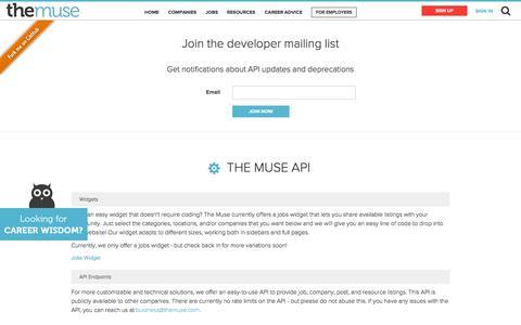 Screenshot of Developers Page themuse.com - Free Career Advice | Career Finder - captured Dec. 17, 2014