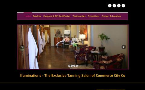 Screenshot of Home Page illuminations24-7.com - Tanning Salons Commerce City Co Reunion Co - Illuminations 24-7 - captured Feb. 10, 2016