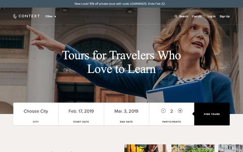 Screenshot of Home Page contexttravel.com - Tour The World's Cultural Capitals With Expert Guides - Semi-Private and Privately Guided Tours  - Context Travel - captured Feb. 17, 2019