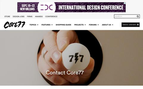 Screenshot of Contact Page core77.com - Contact - Core77 - captured July 22, 2018