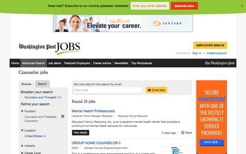 Screenshot of Jobs Page washingtonpost.com - Counselor jobs - captured Oct. 30, 2016