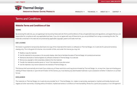 Screenshot of Terms Page thermaldesign.com - Thermal Design, Inc. - Steel Building Insulation Systems - captured Dec. 2, 2016