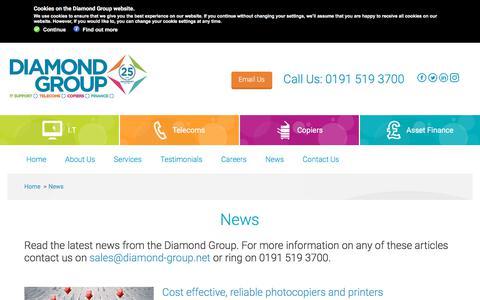 Screenshot of Press Page diamond-group.net - Diamond Group   News from the Diamond Group - captured Feb. 12, 2018