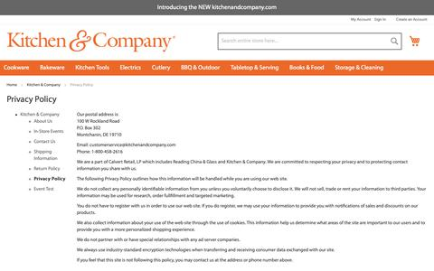 Screenshot of Privacy Page kitchenandcompany.com - Privacy Policy - captured Sept. 29, 2018