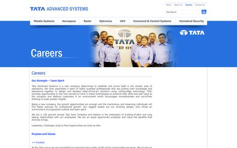 Screenshot of Jobs Page tataadvancedsystems.com - TATA ADVANCED SYSTEMS - captured Nov. 29, 2016