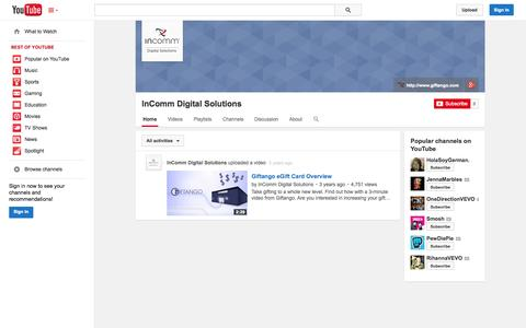 Screenshot of YouTube Page youtube.com - InComm Digital Solutions  - YouTube - captured Oct. 22, 2014