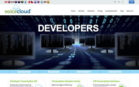 Screenshot of Developers Page voicecloud.com - Developers | VoiceCloud - captured Oct. 7, 2014