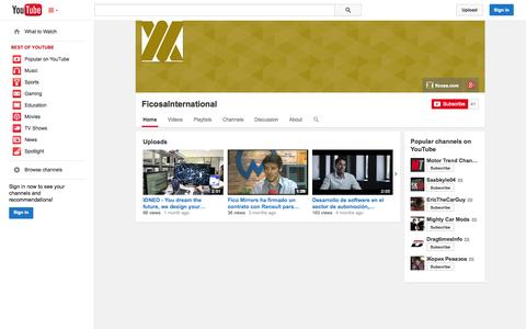 Screenshot of YouTube Page youtube.com - FicosaInternational  - YouTube - captured Oct. 26, 2014
