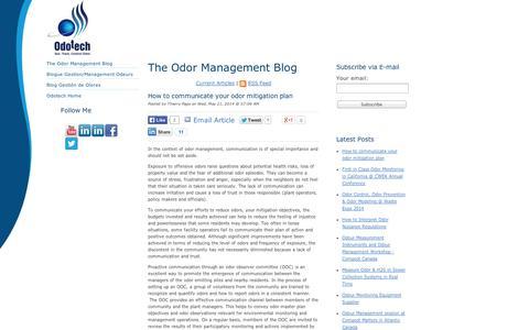Screenshot of Blog odotech.com - The Odor Management Blog - captured Sept. 11, 2014