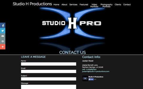 Screenshot of Contact Page Pricing Page studio-h-productions.com - Contact - captured Oct. 26, 2014