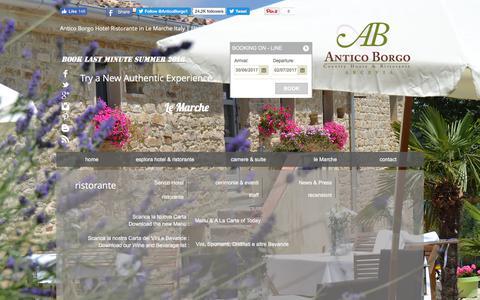 Screenshot of Menu Page antico-borgo.it - Ristorante Antico Borgo Arcevia - Specialita di Carne nelle Marche - Pesce nelle Marche - captured June 29, 2017