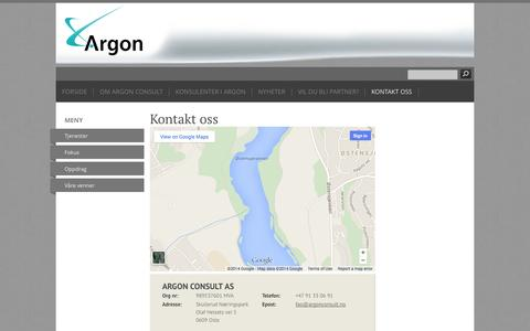 Screenshot of Contact Page argonconsult.no - Kontakt oss - ARGON CONSULT AS - captured Oct. 4, 2014