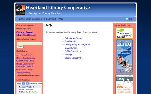 Screenshot of FAQ Page myhlc.org - FAQs | Heartland Library Cooperative - captured Oct. 2, 2014