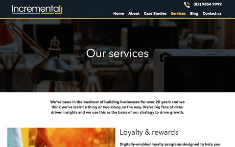 Screenshot of Services Page incremental.com.au - Our services - Incremental - captured Nov. 23, 2019