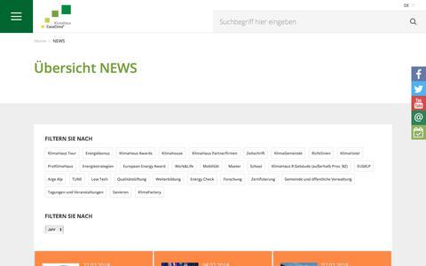 Screenshot of Press Page klimahaus.it - NEWS - captured Feb. 15, 2018